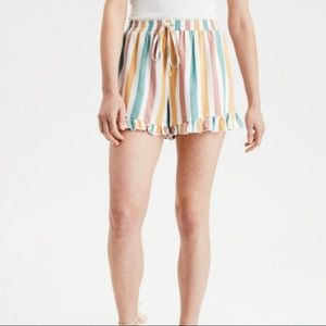 American Eagle colourful striped ruffle shorts